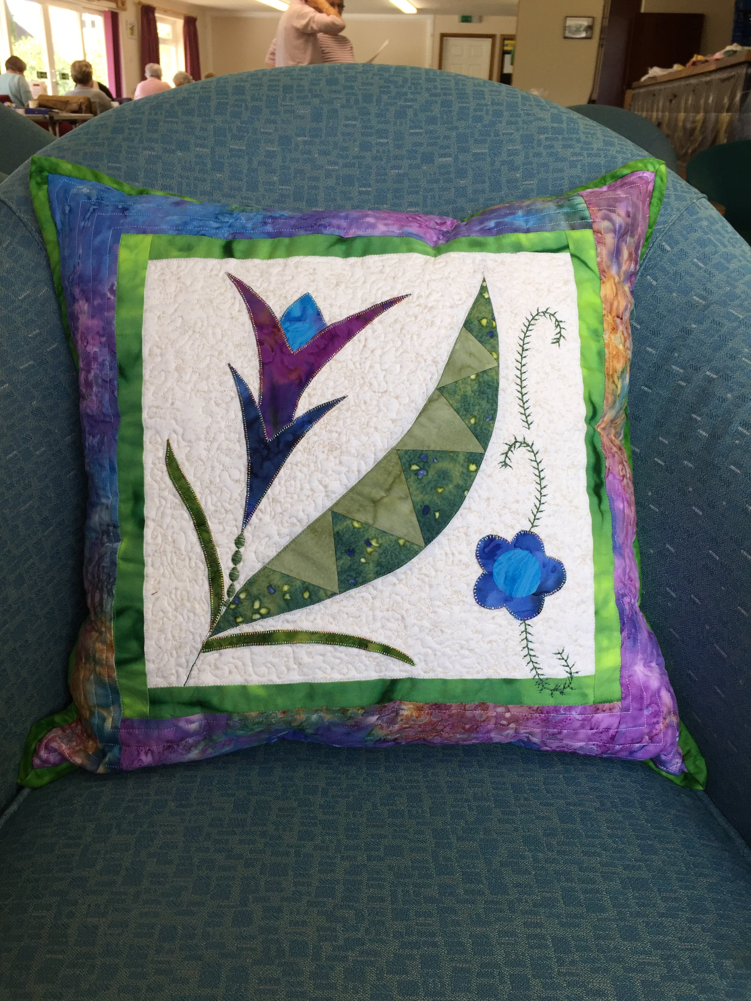Jane's cushion made in the Anja Townrow Retreat