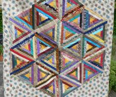 Jane's triangle log cabin quilt